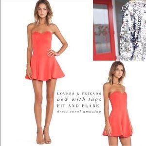 Lovers + Friends Strapless Tangerine NWT Dress